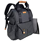 Hap Tim Baby Diaper Bag Backpack W/Stroller Straps- Multi-function Designer diaper bags Large Capacity, Insulated Pockets,Changing Pad, Waterproof (Dark Gray-5279SG)