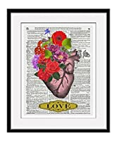 Heart With Flowers Love 11x14 Inch Reproduction Vintage Dictionary Art Print With Heart Definition - Unframed [並行輸入品]