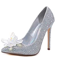 Peatutoori Women Pumps Stilleo High Heels Shoes Floral Crystal Slip on Rhinestone Wedding Shoes