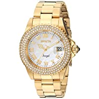Invicta Women's Angel Quartz Watch with Stainless-Steel Strap, Gold, 20 (Model: 22875)