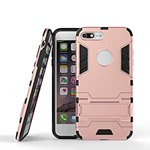 iPhone 7プラス用スタンド【耐震ケースで1アイアンアーマータフスタイルハイブリッドデュアルレイヤーアーマーディフェンダーPC + TPU保護ハードケースで2 ( Color : Rose Gold , Size : IPhone 7 Plus )