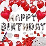 誕生日 飾り付け バルーン HAPPY BIRTHDAY 風船 セット バースデー デコレーション パーティー お祝い 装飾 ポンプ 両面テープ リボン 花びら 付き J039R