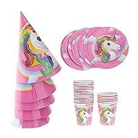 KESOTO 26 /セット 魔法 ユニコーンスタイル 紙プレート +コップ+コーン帽子 セット 子供 誕生日パーティー用品