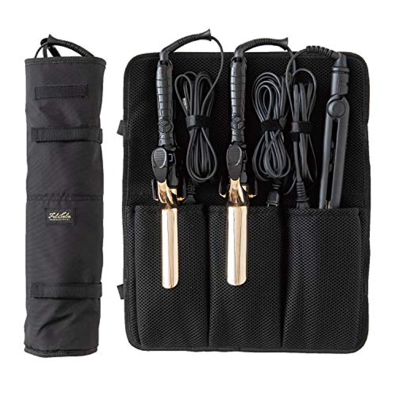 マスタードステンレス無駄なラッキーウィンク 3本入るヘアアイロンケース ブラック 商品サイズ: W450×H430×D40mm(外寸)135g