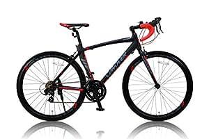 カノーバー ロードバイク 700C シマノ14段変速 CAR-012 (ADOONIS) アルミフレーム フロントLEDライト付 ブラック