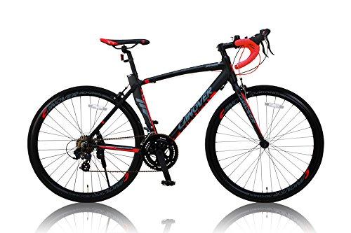 CANOVER(カノーバー) ロードバイク 700C シマノ14段変速 CAR-012 (ADOONIS) アルミフレーム フロントLEDライト付 ブラック
