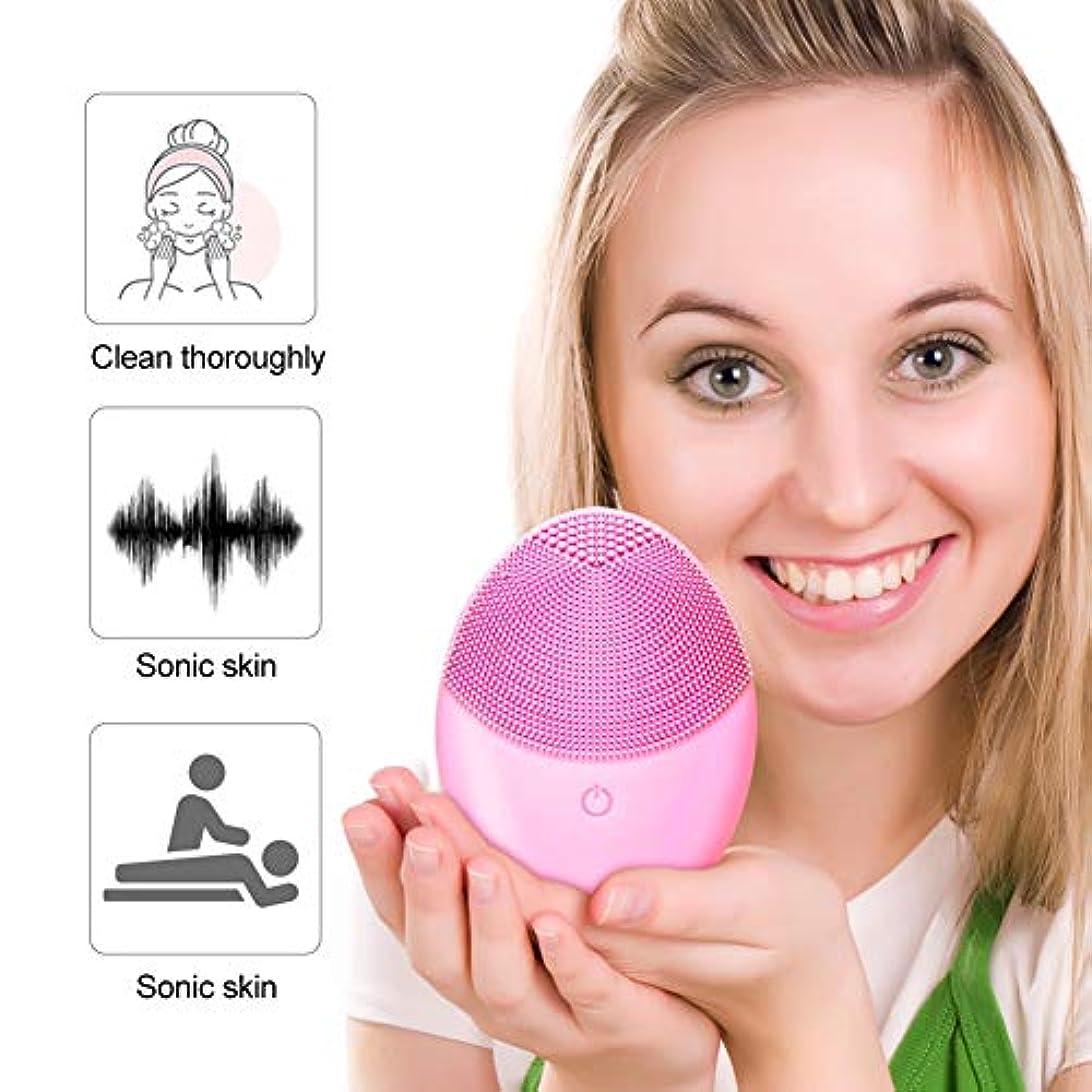 瞑想的隣接する展開するブラックヘッド、ディープクレンジングスキンケアを削除洗顔ブラシ、携帯用電気クレンザーブラシシリコーンフェイスマッサージャー、毛穴クリーナー超音波メイクアップリムーバー、ウォッシュアーティファクト、エクスフォリエイティング、 (Color : ピンク)