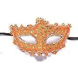 HuaQingPiJu-JP 仮装レーススパンコールプリンセスマスクシンプルマスク(オレンジ)