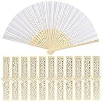 GWHOLE 12 Pcs Hand Fan Silk White Pocket Folding Hand Fan with Elegant Box for Wedding Gift Church, Holiday Season, Decoration DIY