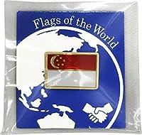 世界の国旗 ピンバッジ Sサイズ 8×12mm:シンガポール