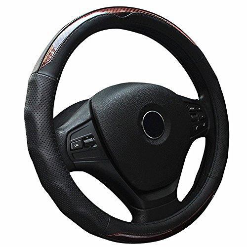 ZATOOTO軽自動車ハンドルカバーsサイズ 本革ステアリングカバー カーボン調 オシャレ125Z