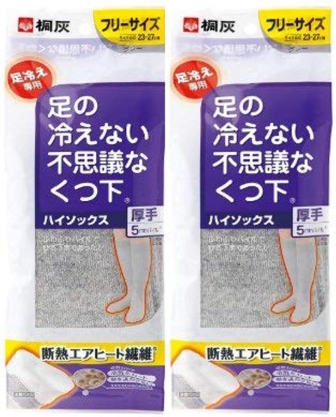勤勉り経由で【まとめ買い】桐灰化学 足の冷えない不思議なくつ下 ハイソックス 厚手 足冷え専用 フリーサイズ グレー 1足分(2個入)×2個セット