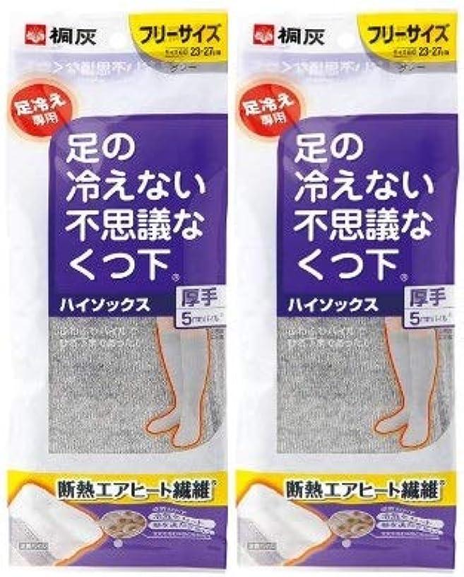 満足させる思春期の悩み【まとめ買い】桐灰化学 足の冷えない不思議なくつ下 ハイソックス 厚手 足冷え専用 フリーサイズ グレー 1足分(2個入)×2個セット