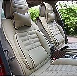 (ファーストクラス)FirstClass フロント リア カーシートカバー シートクッションセット PUレザー ベージュ 通用 A4 フィアット ベンツ キア サニー S230 8pcs
