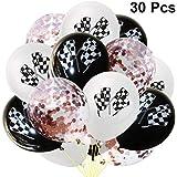 PRETYZOOM 30ピースチェッカーフラッグ紙吹雪風船ラテックス風船用レースカーテーマ誕生日パーティーの装飾