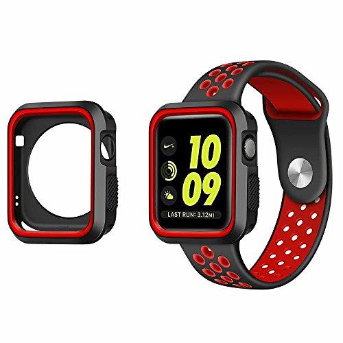 LEEHURアップルウォッチケース 全面カバー TPU保護 耐衝撃性 アップルウォッチアクセサリ for Apple Watch Series 1&Series 2 (38mm, case黑&赤) ウォッチケースだけ