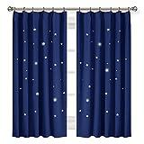 PONY DANCE 遮光 カーテン おしゃれ 目隠し 子ども用 - 透かし彫り星柄 星 カーテン UVカット 子供部屋 ローヤルブルー 2枚セット 幅100cm丈110cm