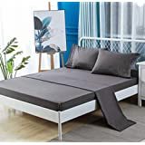 Mohap Sheets Set 4pcs 1100TC Queen Size Grey/Coral/Yellow Upgrade Thickening