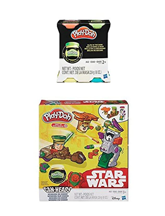 Play-Doh Star Wars, Mission on Endor, Featuring Can-Heads Luke Skywalker, Ewok, Biker Scout PLUS Extra 4-Pack of Glow in the Dark Modelling Compound (Bundle)