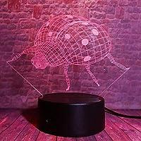 Llhydノベルティ昆虫3d ledナイトライトテーブルランプ7色錯視ランプ用ライフベッドルームバー最高の贈り物玩具