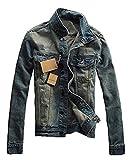 メンズ デニム ジャケット ダメージ G ジャン ビンテージ ライダース デザイン コットン 生地 (インディゴ Mサイズ)