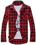[スミドレン] チェック 柄 長袖 シャツ メンズ Yシャツ カジュアル カラー 黒 白 上 上着 トップス ホワイト 袖 ウェア ボタン メンス..