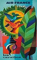 エアフランス–Les Caraibesヴィンテージポスター(アーティスト: Nathan Garamond )フランスC。1962 12 x 18 Art Print LANT-61113-12x18