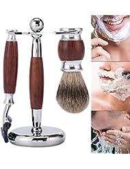 プロのひげを剃る、剃刀安全5層かみそり+マホガニーシェービングブラシとシェービングスリーブホルダーを剃ることは男性のための良い贈り物です