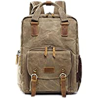 ASdf Canvas Leather Backpack Shockproof SLR Camera Bag Professional Camera Bag Waterproof Camera Backpack Travel Hiking Outdoor Men and Women Backpack