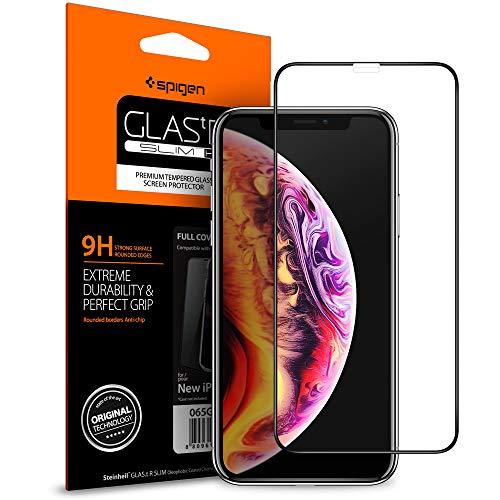 【Spigen】 iPhone XS Max ガラスフィルム 6.5インチ 用 【フルカバー】 【日本製旭硝子採用】 全面保護フィルム 液晶強化ガラス 9H硬度 發油加工 3DTouch Face ID 対応 065GL25232 (FC HD Black (1枚入))