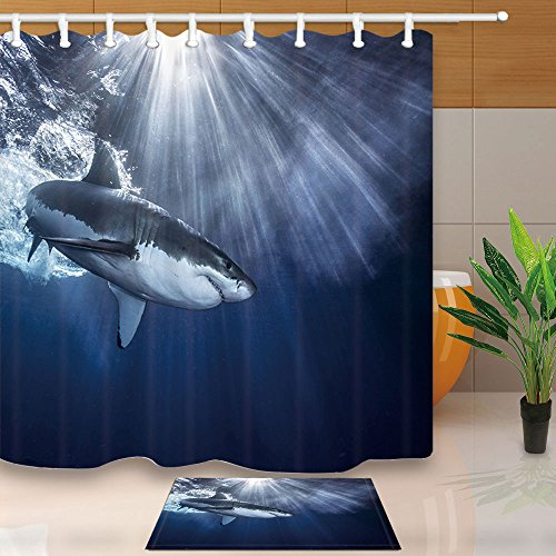 NYmB Oceanicシャワーカーテン、Shark Jaws Swimming Sea Spray...