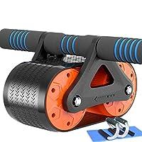 腹部ホイールダブルスプリングタンクタイプリバウンド腹部筋肉ローラー運動器具 (色 : Orange 3 piece set)