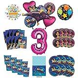 Mayflower Products アラジンとプリンセス ジャスミン 3歳の誕生日パーティー用品 8人のゲスト用デコレーションキットとバルーンブーケ - ピンクナンバー3
