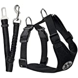SlowTon Dog Car Harness Seatbelt Set, Pet Vest Harness with Safety Seat Belt for Trip and Daily Use Adjustable Elastic Strap and Multifunction Breathable Fabric Vest (L, Black)