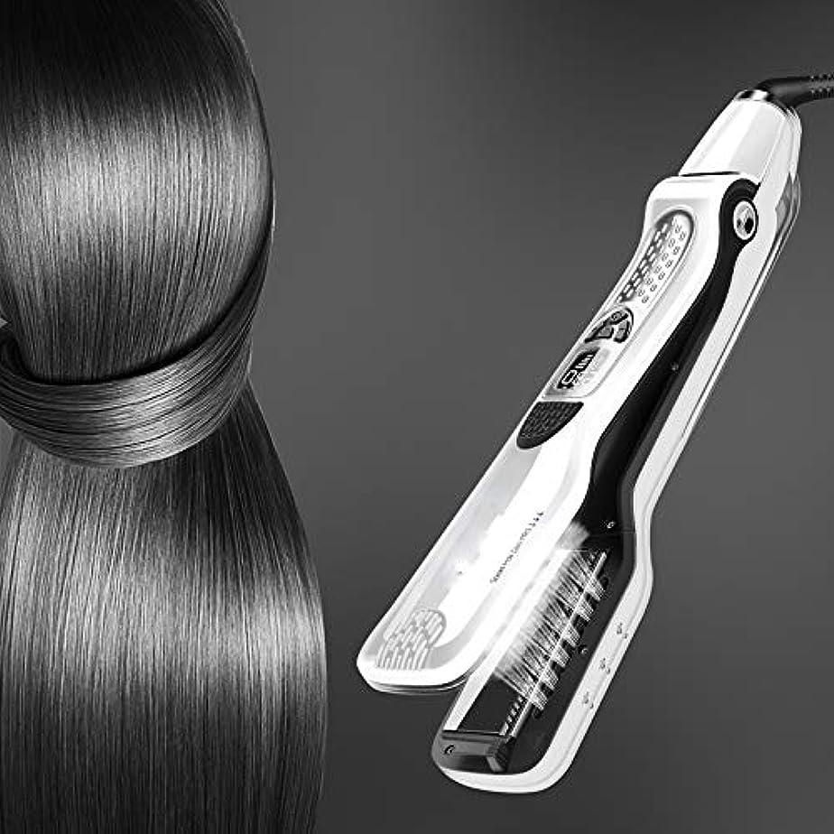 称賛パイどれCQQ プロのヘアストレイテナースチームフラットアイロンストレイテナー浮動加熱プレート蒸気は矯正ブラシスプレー