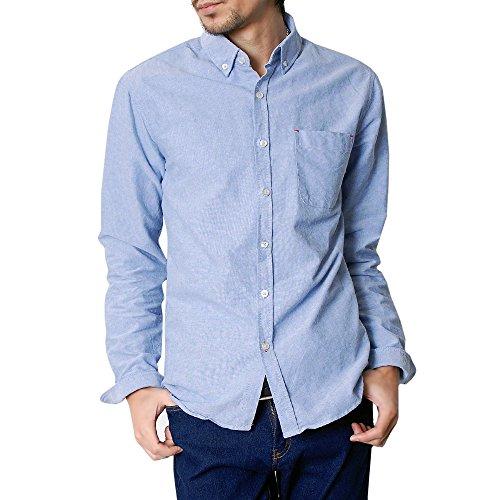 (ハイクオリティプロダクト)High quality product メンズ オックスフォードボタンダウンシャツ コットンシャツ カジュアルシャツ ブルー XLサイズ