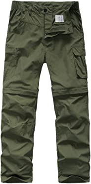 Asfixiado Kids' Boy's Hiking Convertible Outdoor Lightweight Quick Drying Travel Cross Durable Stretch Pants