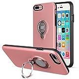 iPhone8 Plus ケース / iPhone7 Plus ケース、ICONFLANGによる360度回転リンググリップケース、iPhone 7 / 8 Plusデュアルレイヤー耐衝撃性保護iPhone 7 / 8 +ケース、磁気ブラケットに適用されます (Pink)