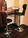 ウッディカウンターテーブル+曲げ木バーチェア2脚付きマッシュルームデザイン3点セット ブラウン木目