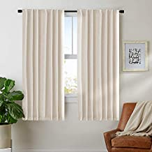 "jinchan Linen Textured Curtains for Bedroom Drapes Rod Pocket Back Tab Linen Blend Curtain Panels, Window Treatments for Living Room Patio Door (1 Pair, 63"", Crude)"