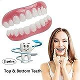 2対の歯のベニヤ化粧品の歯のスナップオンセキュアアッパーロアフレックスデンタルベニア義歯ケアファッション
