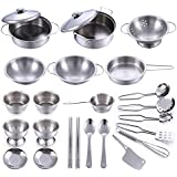 25 Pieces Play Kitchen Pans and Pots Metal Set, Kids Role Pretend Utensils Play Let's Play House Cookware Accessories, Safe Durable Smooth Stainless Steel Playing Kitchen Roleplay Toys