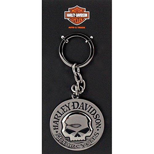 ハーレーダビッドソン メタルキーリング ブラックラウンド ウィリーGスカルガンメタル #HDKD239 /Harley-Davidson/キーホルダー・キーチェーン/アメリカン雑貨/ [並行輸入品]