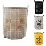 VR HOME Fashion Collapsible Laundry Baskets Fabric Washing Basket Laundry Hamper 63L Capacity (LOVE IS IN MY HOME)