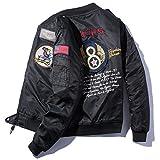 フライトジャケット 長袖 メンズ MA-1風 薄手 ミリタリー 春服 刺繍 カジュアル 演出服 B2015C-XXL