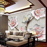 Ljjlm カスタム写真の壁紙中国風の3Dレリーフ梅の花の鳥の写真壁の壁画のリビングルームの研究家の装飾の壁紙の壁画の壁画-260X180CM