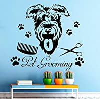 Ljjlmホームデコレーションアクセサリーウォールステッカーペット犬グルーミングアート柄壁の壁画の装飾SticekrショップハウスDiy 58×63センチ