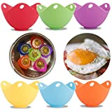 Amabest 6 Pack Silicone Egg Poacher with Flat Bottom Egg Poacher Pods Egg Cooker No BPA Silicone Bowl Egg Poacher Cups Egg Bites Molds Egg Maker Cups for Microwave, Egg Cookware, Stovetop