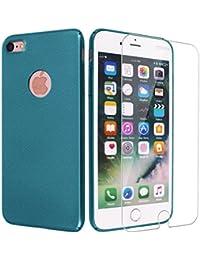 iPhone 6 ケース iPhone 6s ケース easyBee iphone6 ガラスフィルム付き 超薄型 アイホン6カバー おしゃれ 高級感 シンプル 手触り良い 耐衝撃 男女兼用 全面保護ケース プレゼント最適(サンドロックグリーン)