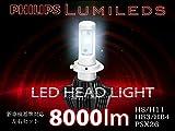 Philips LED ヘッドライト2個セット H4 Hi/Lo車検対応 6500k 8000LM 12v24v フィリップス 角度調整機能付